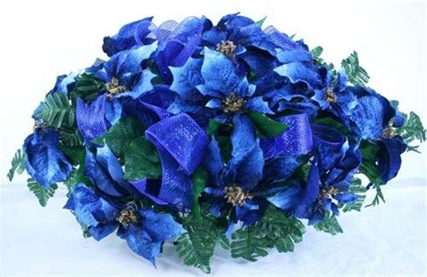 holiday christmas blue poinsettias silk flower cemetery
