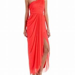 Neon Coral Ruched Mesh e Shoulder Maxi from Charlotte Russe