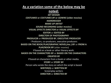 film credits credits