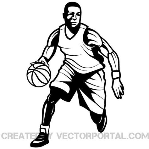 basketball player clipart black and white basketball player vector graphics eps vector image