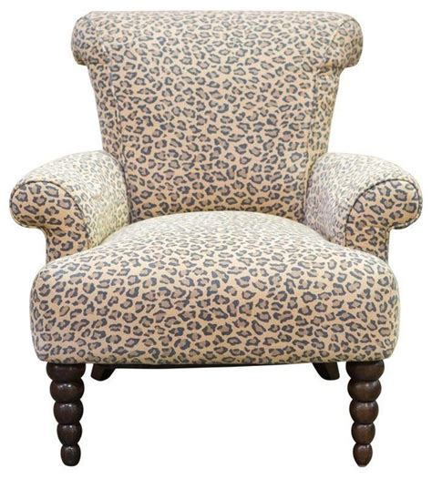 pre owned leopard print rolled back arm chair eclectic