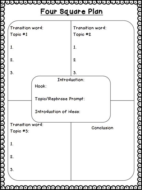 four square writing template four square plan pdf drive third grade writing four square squares