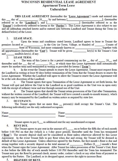 Condominium Rules Rental Agreement Template by Wisconsin Residential Tenancy Lease Agreement Wisconsin