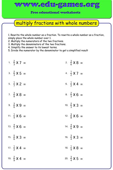 multiplying fractions   numbers worksheets