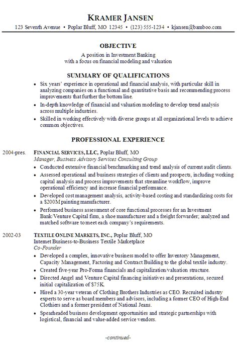 How To Make A Model Resume by Sle Resume For Someone Seeking A In Investment