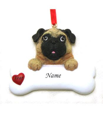 pug personalized christmas ornament