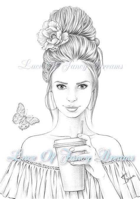 beautiful woman coloring page  adult coloring sheet print summer coloring pages  draw