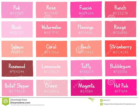 pink color names pink tone color shade background with code and name stock