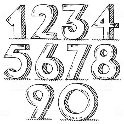 numbers set drawing stock vector art  images