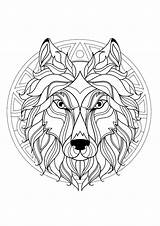 Mandala Wolf Head Coloring Pages Adult Panda Ready Difficult Lion Geometric Justcolor Mandalas sketch template