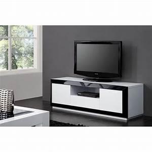Meuble Tv Design Blanc Laqué : meuble tv design laque noir blanc haute brillance achat vente meuble tv meuble tv cdiscount ~ Teatrodelosmanantiales.com Idées de Décoration