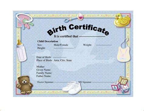 birth certificate templates bookletemplateorg