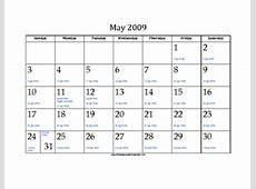 May 2009 Calendar with Jewish equivalents and holidays