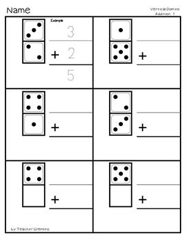 vertical domino addition practice  worksheets