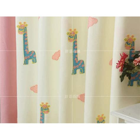 light yellow animal embroidery linen color block curtains