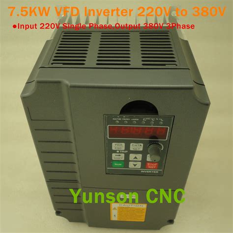 7 5kw 7500w 10hp variable frequency vfd inverter spindle 220v single phase input
