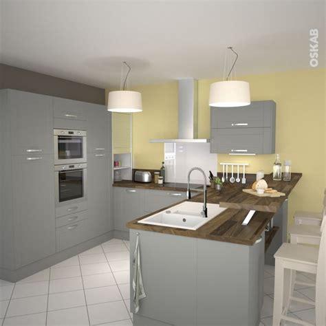cuisine ouverte grise cuisine équipée grise bois moderne filipen gris mat
