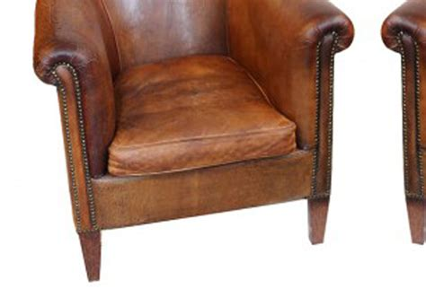 vintage leather club chairs pair omero home