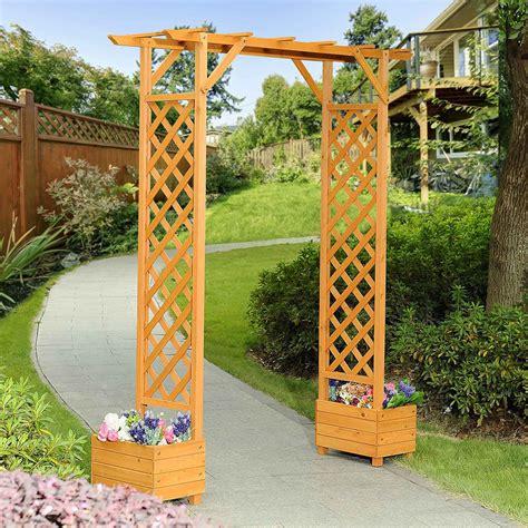 Wooden Garden Trellis by Wooden Garden Arbor Planter Box Arch Sturdy Entry Frame