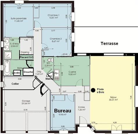 plan maison en l plain pied maison contemporaine plain pied plan 140m2 maison moderne