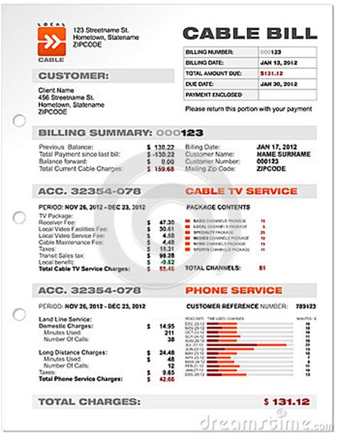 utility bill template cable service phone bill document sle template stock photos image 30165913