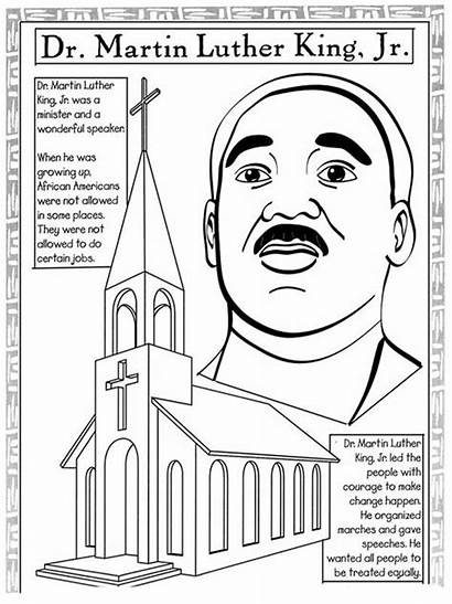Luther Martin King Holiday Coloring Mlk Pages
