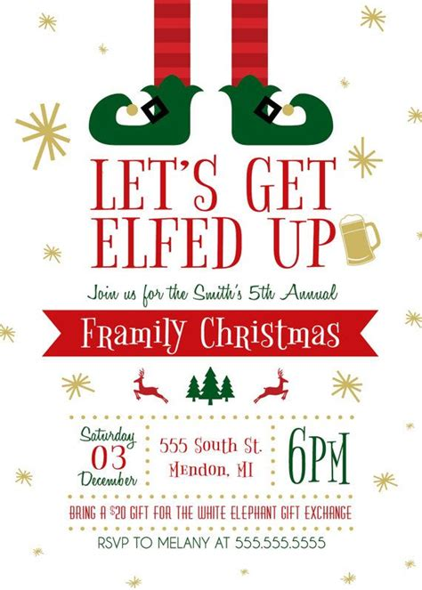 printable lets  elfed  christmas party