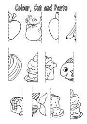 colour cut  paste food esl worksheet  sophia