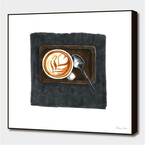 Original handmade buddha coffee painting. «A Cup of Coffee #3» Art Print by Polar Bear Sketches ...