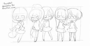 Chibi Female Body Position Coloring Pages