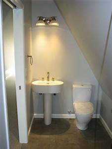 71 best images about dormer bathroom on pinterest for Small attic bathroom sloped ceiling