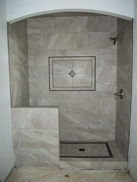 grey rectangle tile shower with large gray rectangle tile traditional bathroom houston by n koehn tile