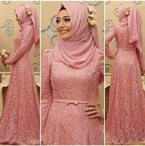 baju gamis long dress hijab bahan brukat modern model terbaru ryn fashion