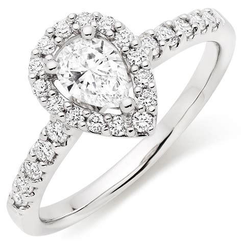platinum diamond pear shaped halo ring 0100765 beaverbrooks the jewellers