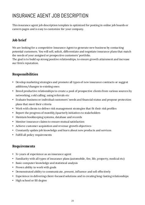 insurance description resume