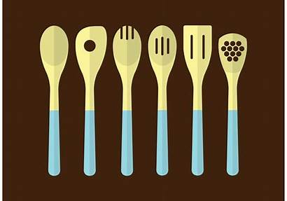 Utensils Kitchen Vector Wooden Clipart Vectors Graphics