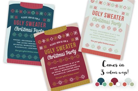 ugly sweater christmas party invite invitation templates