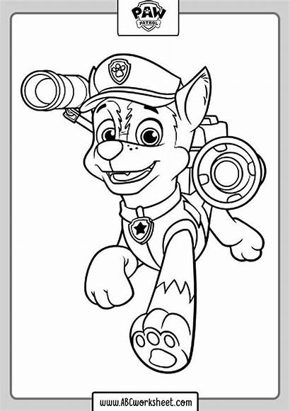 Paw Patrol Coloring Chase Drawings Abc Worksheet