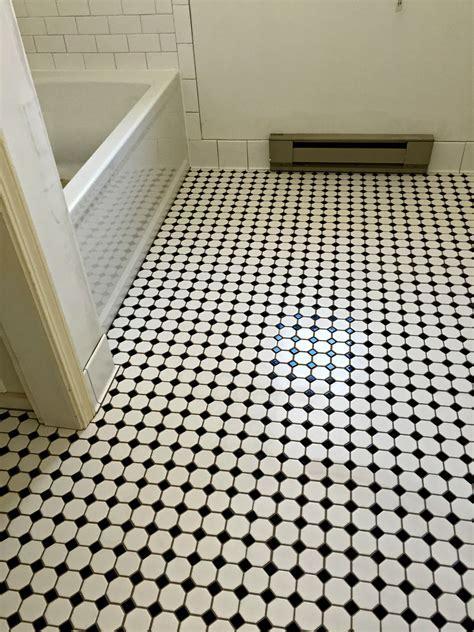 Bathroom Floor: Daltile Octagon & Dot Mosaic w/ Black Dot