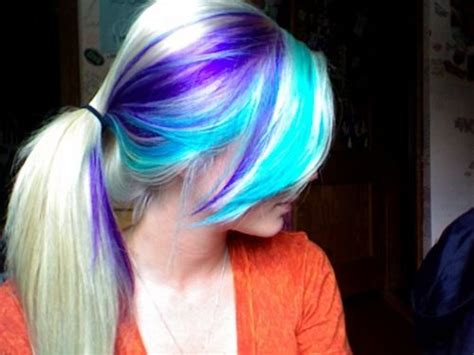 Turquoise And Purple On Blonde Hair Pics Pinterest