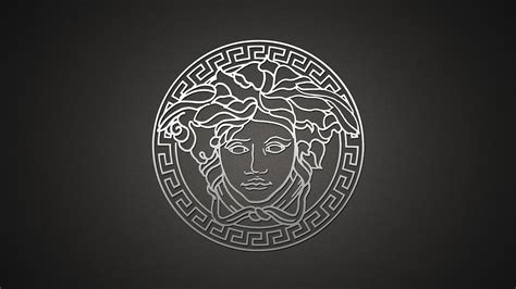 versace logo brand gray company hd wallpaper wallpapersbyte
