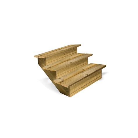 escalier en bois 3 marches pleines deck linea
