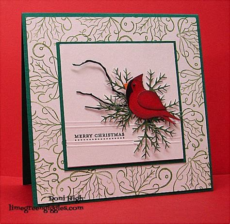 cardinal  holly  donidoodle cards  paper crafts