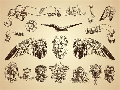 vintage illustrations  statues animal drawings heraldic