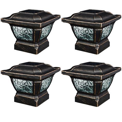 6 solar post cap lights 4 pack paradise solar metal outdoor garden 3 6 quot fence post