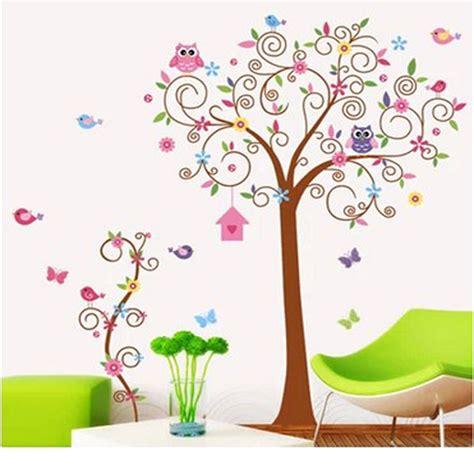 sticker arbre chambre b forest vinyl owl bird tree removable wall sticker