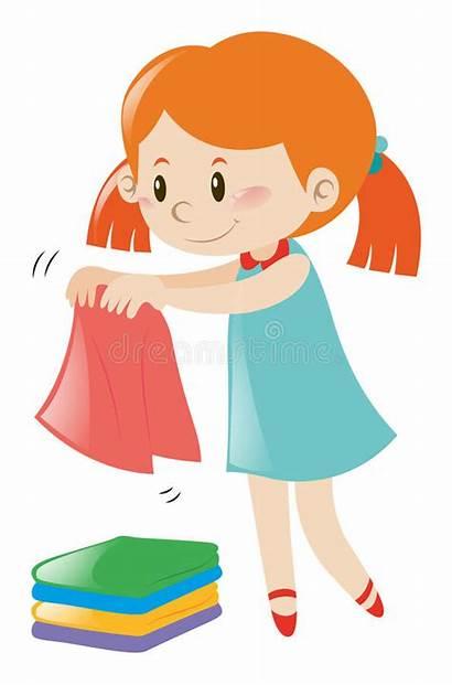Clothes Folding Illustration Clipart Towels Vector
