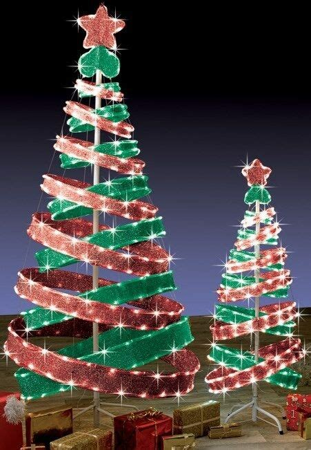 ft outdoor red green pop  spiral christmas tree led