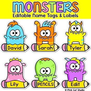 Monsters Theme Name Tags And Labels Classroom Decor By