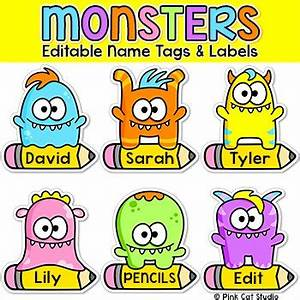 monsters theme name tags and labels classroom decor by With locker tag templates